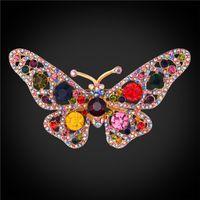 Wholesale White Butterfly Wedding Decor - U7 Jewelry Gorgeous Crystal Brooch Butterfly Shape Luxury Austrian Rhinestone Butterfly Decor Pin For Wedding Party B2726K
