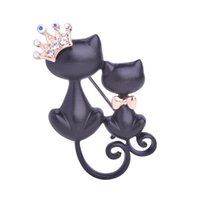 Smooth Black Mother Daughter Cats Broches Crystal Crown Queen Corsages Hijab Pin Mulheres Chapéus Malha de cachecol Broche de roupa Fivelas