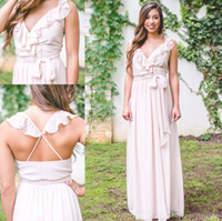 Wholesale blush chiffon ruffle wedding dress for sale - Group buy 2017 Blush Pink Long Chiffon Bridesmaid Dresses A Line Pleats Long Backless Maid of Honor Gowns Custom Made Cheap Wedding Guest Dress