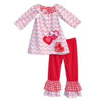 Wholesale Chevron Clothes For Kids - Wholesale- Boutique Remake Kids Clothing Sets Chevron Shirts With Love Heart Shaped Red Ruffle Pants Baby Girls Outfits For Valentine V005