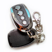 Wholesale universal remote keychain - Wholesale-Wireless Retractable Garage Door Remote Control 4 Channels 433Mhz Gate Remote Copy Cloning Door Alarm Blue LED for Car Keychain