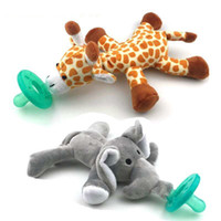 Wholesale Wholesale Baby Elephant Plush - Wubbanub New silicone animal pacifier with plush toy baby giraffe elephant nipple kids newborn toddler kids soother bpa free