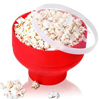 Wholesale QINSI Popcorn Maker Safety Popcorn Bucket Microwave Popcorn Popper Collapsible Silicone Bowl with Anti Splash Lid Kitchen Bakingware Gadget
