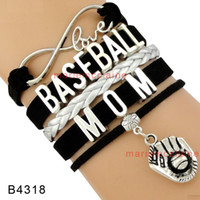 Wholesale Wholesale Baseball Mom - (10 Pieces Lot) High Quality Infinity Love Baseball Mom Bracelet Baseball Glove Charm Baseball Lover Black Women's Fashion