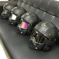 vespa шлем vintage оптовых-2017 Новое прибытие старинные Harley мотоциклетные шлемы Марка мужчина женщины кожа скутер реактивный шлем открытое лицо vespa шлем с очками