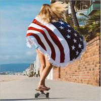 banyo havluları giymek toptan satış-Plaj Battaniye Amerikan Bayrağı Desen Havlu Bikini Kapak Beachwear Plaj Sarongs Şal Banyo Havlusu Yoga Mat Giyim Yuvarlak Polyester