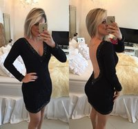 Wholesale Hot Sexy Backless Short Dresses - Hot Sale Long Sleeve Black Lace Cocktail Dresses 2017 Sexy Deep V Neck Backless Pearls Beaded Party Dress Short Prom Gowns Sheath