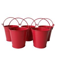 Wholesale Tin Buckets Favors - Free s hipping multicolor 7.5*7.5CM Flower pots Planter pure garden bucket tin box Iron pots baby shower favors