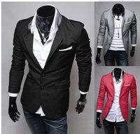 Wholesale Designer Blazers For Men - Wholesale- Autumn New Men Blazer Fashion Slim casual blazer for Men Brand Mens Blazers suit Designer jacket outerwear men Red Black