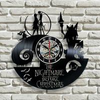 clock decor achat en gros de-2017 Nouveau disque vinyle horloge murale Nightmare avant Noël Jack et Sally Class, cadeau de Noël pour un ami, ock mur décor moderne