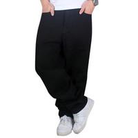 Wholesale black jeans men bootcut - Wholesale- Hip Hop Jeans MenNew Fashion Black Jeans Baggy Loose Fit Hiphop Skateboarder Jeans Free Shipping