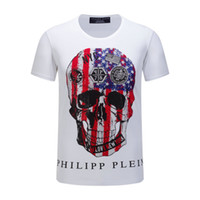 Wholesale New Fashion Half Skirts - 2017 spring and summer new men's round neck t-shirt tide men's fashion half-sleeved p skull hot drill skirt short-sleeved men's clothing