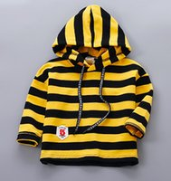 Wholesale Sweater Boys Stripes - 2017 new boys and girls baby stripes T-shirt bottoming shirt 1 to 3 years old children cotton label fashion hooded sweater