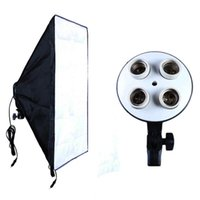 Freeshipping Attrezzatura fotografica Photo Studio Soft Box Kit Video Illuminazione a sospensione a quattro tappini + scatola fotografica Softbox 50 * 70cm