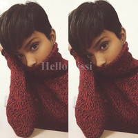 Wholesale front hair cut indian style for sale - short wigs Rihanna Pixie Cut short hair style cuts Brazilian Human Short Bob Wig With Baby Hair Lace Front Wig For Black Women