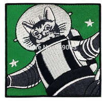 Wholesale Astronaut Cosplay - Funny Astronaut Cat Patch Space Cat profesor Astro Cat tv movie Embroidered Emblem applique iron on halloween cosplay costume