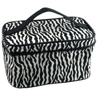 Wholesale Patterns Hand Fashion Bags - Wholesale 10 Zebra Pattern Foldable Fashion Makeup Travel Cosmetic Hand Case Bag portable Cosmetic bag