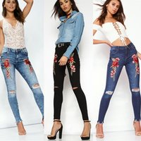 Wholesale Denim Women Casual Fashion Wear - Tinderala New Design Woman Worn Hole Jeans Casual Ripped Rose Embroidery Pencil Jeans Femme Vintage Denim