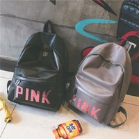 Wholesale School Backpack Pink - Pink Sequins Backpack PU Backpacks Pink Letter Black Grey Waterproof Travel Bags Teenager School Bags OOA1460