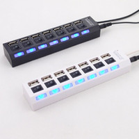 Wholesale Hub Usb Ac Led - 50pcs USB 2.0 HUB Power Strip 7 Ports Socket LED Light UP Concentrator with Switch AC Adapter for Mouse keyboard Charger PC