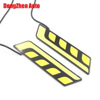 Wholesale Universal Led Daylights Car - The New Car cob led drl turn light all in one car styling 2ps led bar daylight led car waterproof 12v universal daytime running lights bulb