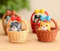 Wholesale Wholesale Resin Ornaments - Fairy Garden Miniature Basket Cat 4 color artificial mini cat Ornaments resin crafts bonsai decors Chi's Sweet Home 2.7*3.5cm