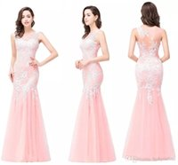 Wholesale Cheap Pink Quinceanera Dresses - 2018 New Pink Cheap In Stock Designer Mermaid Prom Dresses Sleeveless Lace Applique Cheap Bridesmaid Dress Evening Party Gowns CPS360
