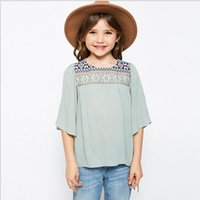 Wholesale Childrens Blouses - Junior Embroidered Floral Shirts Teenager Fashion Flare Sleeve Blouse Big Baby Girl Summer Jumper Tees 2017 childrens clothing