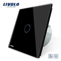 Wholesale Crystal Glass Light Dimmer - Livolo EU Standard Remote&Dimmer Switch VL-C701DR-12, Black Crystal Glass Panel, 220~250V Wall Light Remote Touch Dimmer Switch