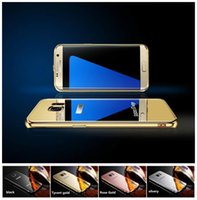 Wholesale S4 Protective Cases - Electroplated mirror metal frame mobile phone shell For Samsungs6 edge+plus S7 edge S4 S5 S6 S7 case 4 Color Samsung Mobile phone protective