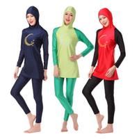 Wholesale Swimwear For Muslims - New Muslim Swimwear Islamic Swimsuit For Women Hijab Swimwear Full Coverage Swimwear Muslim Swimming Beachwear Free Shipping