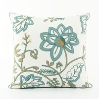 Wholesale Korean Style Sofas - Korean Pastoral Style Embroidery Cushion Cover Embroidered Plants Flowers Floral Cushions Covers Decorative Pillow Case For Car Sofa Seat