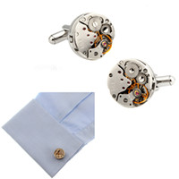 Mechanical Watch Movement Steampunk Mens Wedding Cufflink Banhado a Prata Cufflinks Sleeve Nail Camisa francesa de negócios Cuff Link Christmas Gift