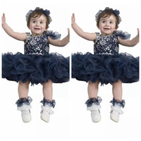 Cute Baby Kids Dark Navy Special Occasion Pageant Cupcake Dresses Младенческие туфли с шампиньонами Малышами из бисера Crystal Birthday Party Gowns