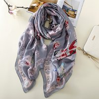 Wholesale Girl Satin Scarf - Smile Scarf Classical Skull Pattern Scarf 110g Oversized 180*90CM New Silk Satin Women Bandanas Girls Beach Sunblock Scarves A180XSD011
