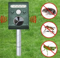 Wholesale Fox Trapping - 2017 NEW SOLAR Ultra Sonic Garden Deterrent Repeller Cat Dog Fox Bird Scarer Pest Control free shipping MYY