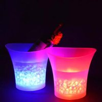 Wholesale Ice Bucket Champagne - 5L LED Ice Bucket Challenge Waterproof Plastic Color Changing Rusty Bucket Nightclubs LED Light Up Champagne Beer Rusty Bucket CCA6811 18pcs