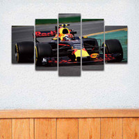 Wholesale mirrored panels for wall - 5 Panel Printed Sports Formula Race Car Painting on Canvas Modular Picture for Home Decor Living Room Wall Sofa Background