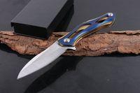 Wholesale Tactical Transformer - 2017 New Transformers Survival Tactical Flipper folding knife 7Cr17 58HRC Satin blade Steel Handle EDC pocket folding knives Blue Handle