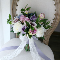 Wholesale Cheap Brooch Wedding Bouquets - Classical Purple Bridal Holding Brooch Bouquet 2017 New Rose Hydrangea CallaLily Bacca Cheap Wedding Decoration Artificial Bridesmaid Flower