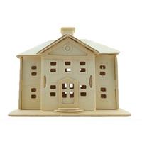 Wholesale 3d House Toy - Country House Wooden Simulation DIY Hut Villa Building Children's Toys Puzzle 3D Puzzles