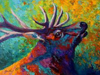 Wholesale Bull Canvas Painting - Giclee forest-echo--bull-elk study oil painting arts and canvas wall decoration art Oil Painting on Canvas longhorn steer