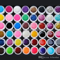 Wholesale Beige Nail Color - Wholesale-48 Mix color vu gel nail polish Pure+ Glitter Paillette + Glitter + pearlescent nacre colors nail art uv gel set gel kit