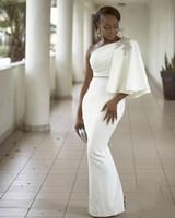 ingrosso la damigella d'onde nera veste i cristalli-Abiti da damigella d'onore Aso Ebi Nero Abiti da ballo perline Una spalla Perline Cristalli Abiti da sera Stile africano Raso Vestito da cerimonia formale