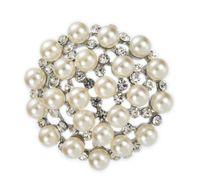 broches de la torta de boda del rhinestone al por mayor-1.7 pulgadas de plata de rodio plateado cristal claro del Rhinestone y perla de crema de imitación redonda perlas del pastel de bodas