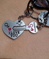 "Wholesale Metal Heart Keyfob - Arrow & ""I Love You"" Heart & Key Couple Key Chain Ring Keyring Keyfob Lover Gift"