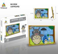Wholesale Building Murals - 1148+pcs Mural series YZ 029-030 Diamond Building Blocks Robot Cat and Totoro model building blocks For Gift Toys