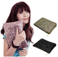 Wholesale metallic gold clutch purse - Cosmetic Bag Neon Sequins Day Clutch Women's Purse Phone Makeup Handbag bag bolsa feminina maleta de maquiagem