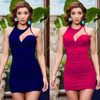 Wholesale Sexy Mini Dress Purple - Women Clothes Beauty Garden 2017 New Fashion Summer Nice Backless Bodycon Club Dress Hollow Out Hip Strap Sexy Dresses For Women