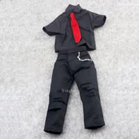 """Wholesale Action Jackson - 1 6 Scale Black Suit Clothes Red Tie Set Michael Jackson For 12"""" Action Figures"""